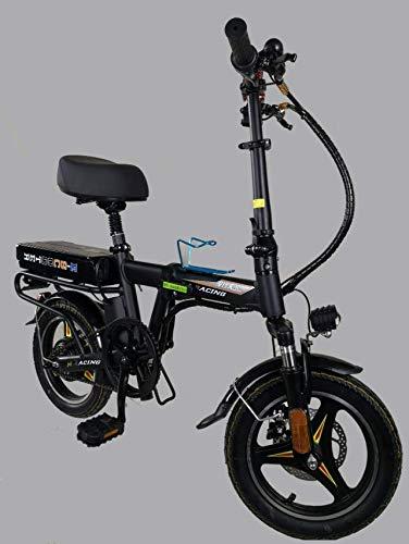 YPLDM Bicicleta eléctrica Plegable Mini Coche eléctrico Mini Scooter eléctrico,Negro