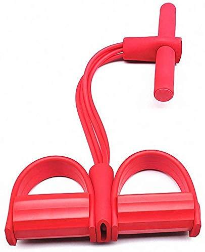 Banda de resistencia de pedal súper ligera de 4 tubos de yoga, cuerda elástica para entrenamiento de musculación, Medium, Rojo