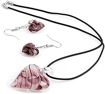 skyllc® Corazón Murano Cristal Colgante Collar Pendientes Chic
