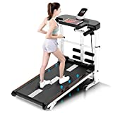 Onefa Folding Shock Running, Supine, T-wisting, Draw Rope 4-in-1 Mechanical Treadmill, Multifunctional Mini Folding Walking Treadmill, Silent Shock Absorption Mechanical Treadmill (Black)