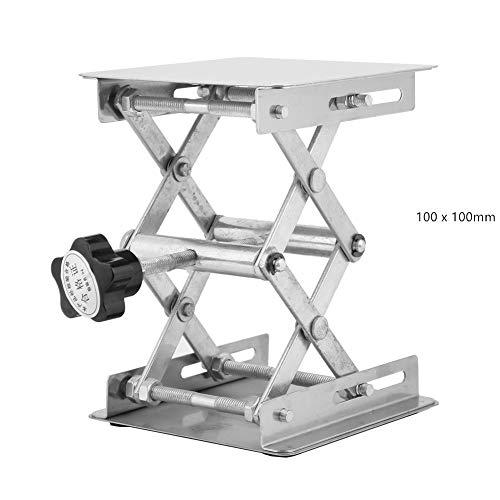 Gato de laboratorio, plataforma elevadora de acero inoxidable Soporte elevador de laboratorio Bastidor de tijera 100 x 100 mm para experimentos cient¨ªficos