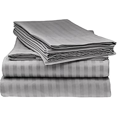 ELEGANTE 1800 Egyptian Comfort Striped 4pc Full Bed Sheet Set, Grey