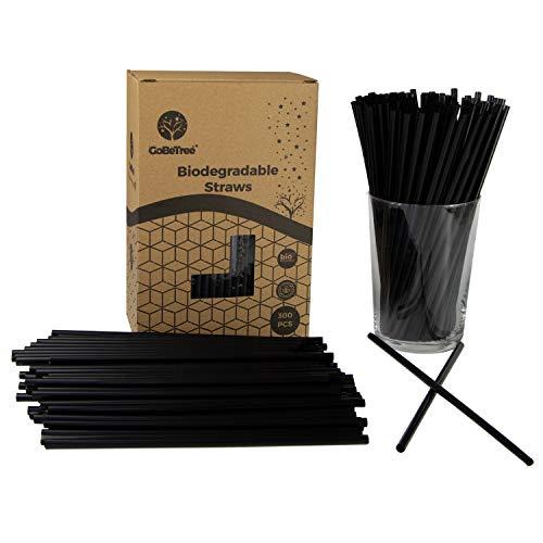 GoBeTree 300 pajitas de pla Biodegradable Color Negro, Pajita ecológica Reutilizable. Cañitas y popotes para Fiestas y cumpleaños. Bebidas frías.