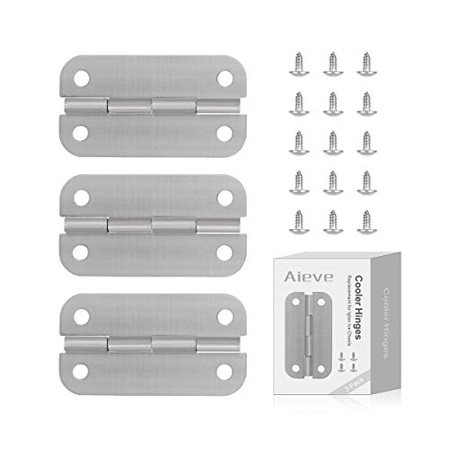 AIEVE Cooler Hinges and Screws Set, Set of 3 Stainless Steel Cooler Hinges Replacement Kit for Igloo Cooler Replacement Parts Ice Chests Cooler Accessories