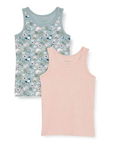 NAME IT Nmftank Top 2p Pale Mauve Flower Noos Camiseta sin Mangas para bebés y niños pequeños, 98 (Pack de 2)