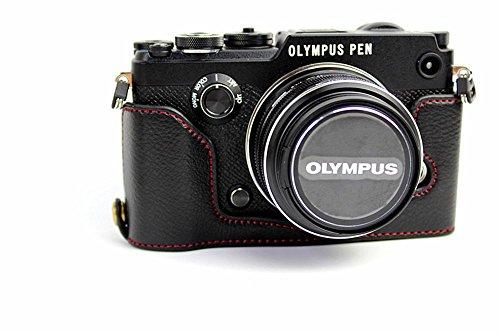 PEN-F Case, BolinUS Handmade Genuine Real Leather Half Camera Case Bag Cover for Olympus PEN-F Bottom Opening Version + Hand Strap - Black