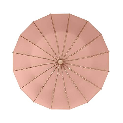 XINHEJULN Paraguas retro, aleación de aluminio ligero de 16 huesos, radio 48-53 cm, plegable sólido en temporada de lluvias, paraguas a prueba de viento, a prueba de sol y resistente al sol Exquisito