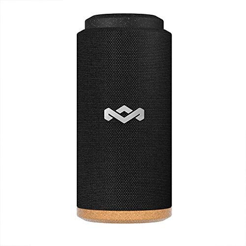 House of Marley, No Bounds Sport, Outdoor Speaker 12-Hour Battery Life, Water & Dust-Proof , IP67 Buoyant, Quick Charge, Wireless Dual Speaker Pairing, Aux-In, Carabiner Clip for Travel Black