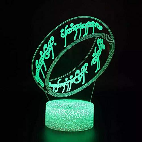 Pulsera única base agrietada luz de noche creativa decoración creativa lámpara de mesa pequeña luz de noche multicolor luz LED acrílico luz de visión 3D