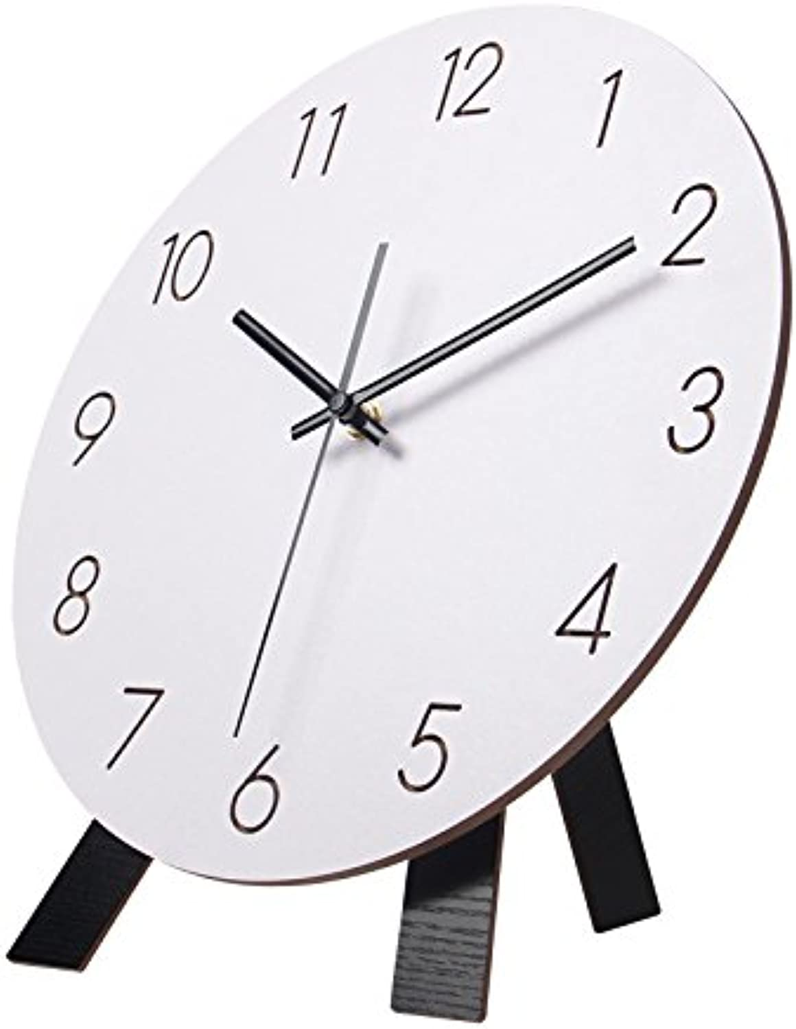 Znzbzt Simple Creative Mute Wall Clock Modern Minimalist Style Wall Clock Mute Living Creative Bedroom Quartz Watches The Nordic Home Clock in Table 12 inch,A+ Bracket
