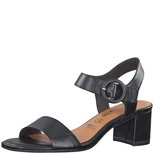 Tamaris Damen Sandalen 28324-24, Frauen Riemchensandale, Women Hochzeit heiraten Feier Party Sandalette sommerschuh,Black Leather,40 EU / 6.5 UK