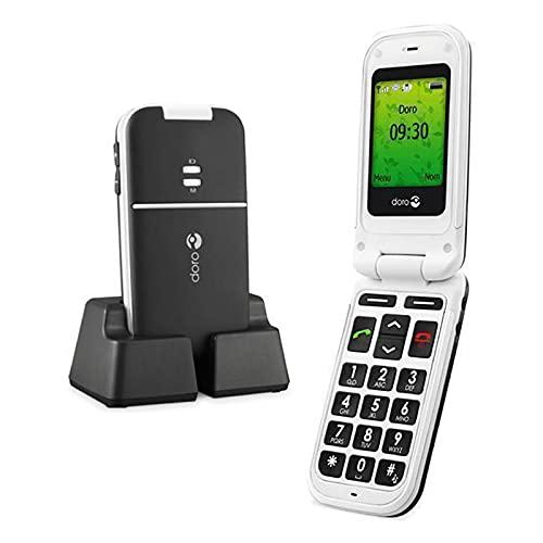 Doro PhoneEasy 410s gsm Teléfono Móvil Sencillo para Personas Mayores con Teclas Grandes - Blanco y Negro