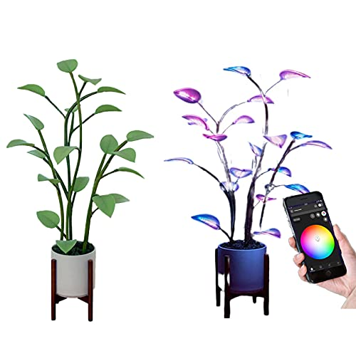 The Magical Led Houseplant, Artificial Plants with 500 APP Programmable Color-Changing Modes, Fairy Tree Bonsai Houseplant Light for Home Decor Indoor(Leaves Only)