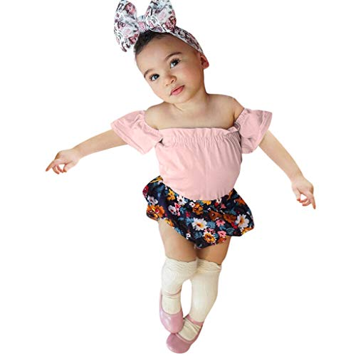 Julhold - Body de verano para bebé y niñas con hombros descubiertos, diseño de flores, 3 a 24 meses Rosa rosa 18 meses