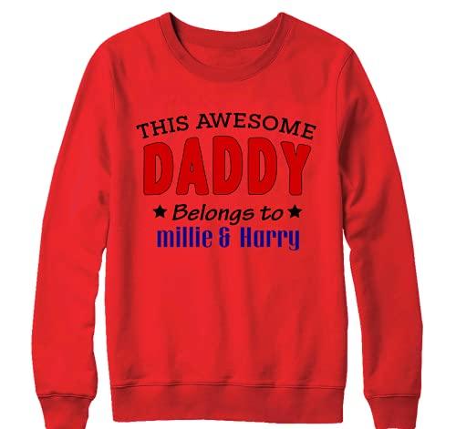 """Sudadera personalizable con texto en inglés """"Super Dadd"""" para el Día del Padre de los Niños, color rojo"""