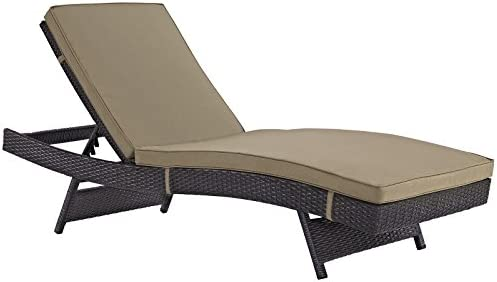 Best Modway Convene Wicker Rattan Outdoor Patio Chaise Lounge Chair in Espresso Mocha