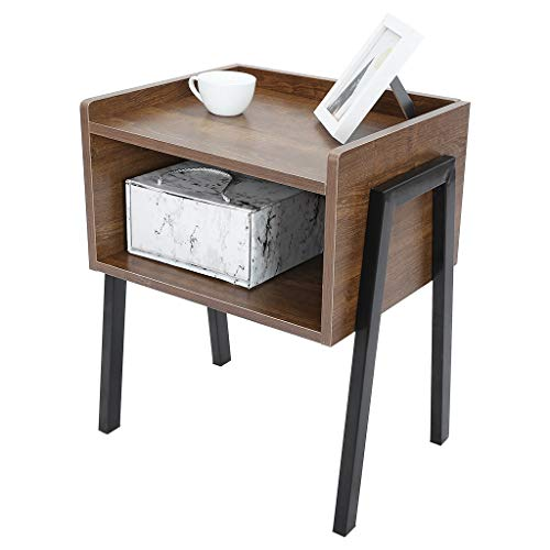 Industrial Style Nightstand Stackable End Table, 2-Tiers Small Side Table for Small Spaces, Wooden Accent Bed Side Tables Vintage Night stand For Home Bedroom Living Room - Rustic Brown [UK IN STOCK]