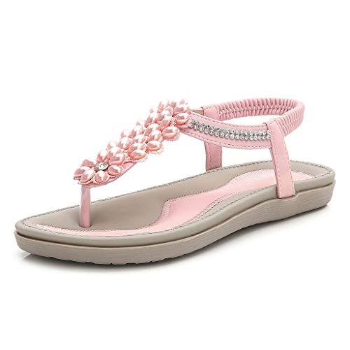Dasongff Damessandalen, damessandalen, zomer, flip flops, PU-leer, bohemian-stijl, vlakke bloemenparels, teenslippers, lichte sandalen, damesschoenen, strandsandalen 37 EU roze