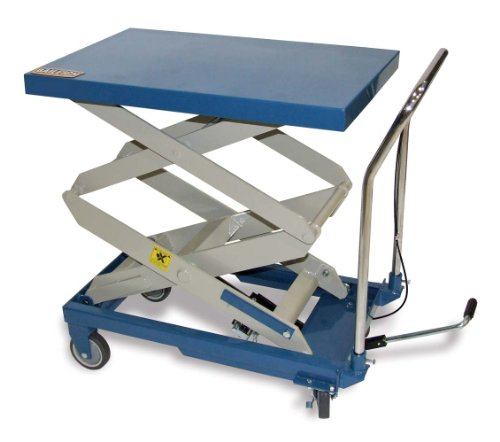 "Baileigh B-CARTX2 Double Arm Hydraulic Lift Cart, 660 lbs Capacity, 32"" Length x 20"" Width Tabletop, 47-13/64"" Maximum Height"