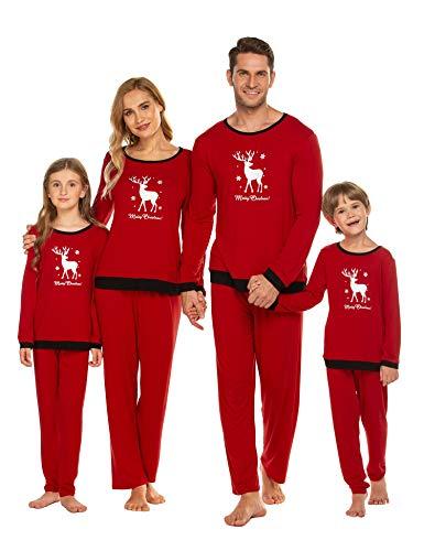 Weihnachten Schlafanzug Familie Matching Pyjamas Langarm Nachtwäsche Set Gedruckt Sleepwear Klassische Rot Homewear Damen Männer Kinder Schlafanzüge