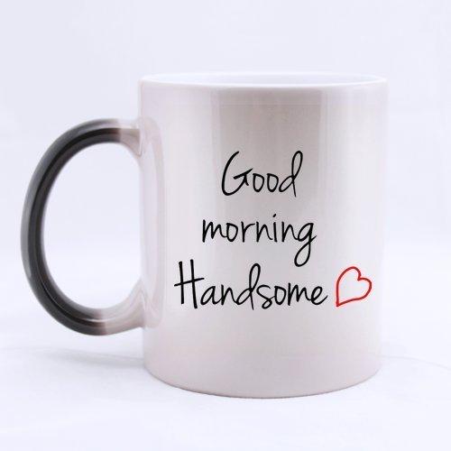 Desconocido Buenos días Guapo Tazas café Tazas para Mujer día de San Valentín Regalos, Aniversario Regalos