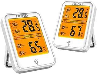 Aerb 2 Pack Hidrómetros, Higrómetro Digital de alta Precisión, Conmutable℃/℉, para Detectar Humedad y Temperatura, Adecuad...