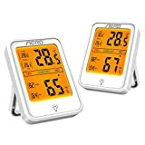 Aerb 2 Pack Hidrómetros, Higrómetro Digital de alta Precisión, Conmutable℃/℉, para Detectar Humedad y Temperatura, Adecuado para Hogar, Oficina, Baño