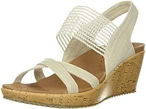 Skechers womens Beverlee - High Tea Wedge Sandal, Natural, 6 US