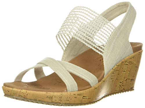 Skechers Beverlee-High Tea, Sandali a Punta Aperta Donna, Beige (Natural), 39 EU