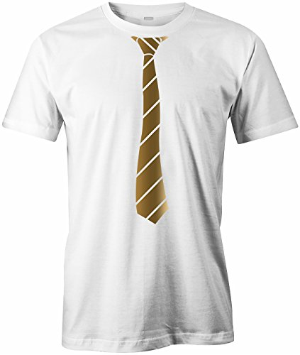 Jayess JGA - Krawatte Business Style - Herren T-Shirt in Weiss-Gold by Gr. XL