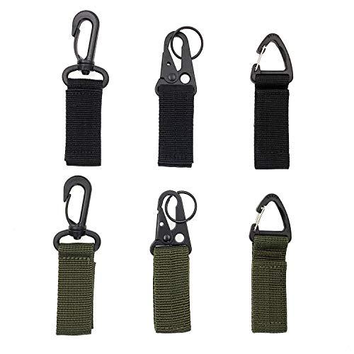 JZK 6 x Tactische rugzak clip haak, tactische vest riem karabijnhaak clip, nylon riem met haak voor werk riem, sleutelhanger sleutelhouder