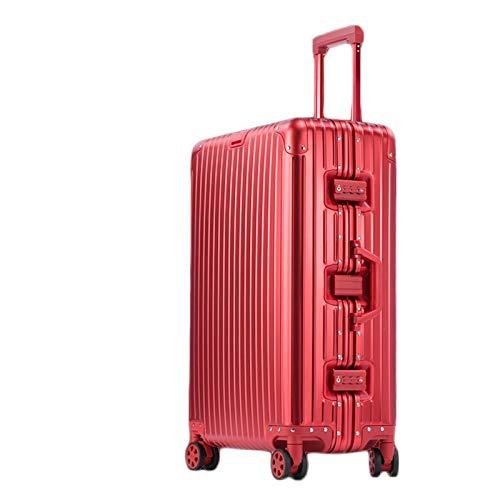 アルミ製スーツケース 熱情レッド 全金属トランク アルミ合金ボディ 旅行用品 TSAロック搭載 キャリーバッグ キャリーケース小型 ishine16 (A, 24インチ)