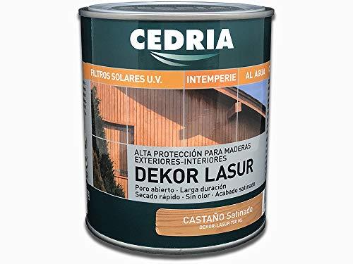 Lasur protector madera exterior al agua Cedria Dekor Lasur 750 ml (Castaño)