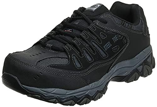 Skechers For Casual Steel Toe Work Sneaker, Black Charcoal, 12 M US