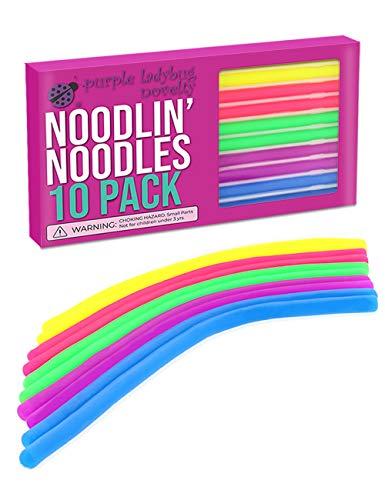 Purple Ladybug Novelty Juguetes Antiestrés Noodlin' Noodles 10 Cuerdas Elásticas Fidget para Estirar y Relajarse | Juegos para Niños, Niñas y Adultos, en Casa y la Oficina | Regalos Sensoriales