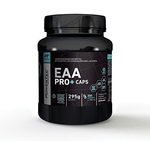 PowerTec EAA Pro+ Caps - mit essentiellen Aminosäuren und Glutamin - für raschen Muskelaufbau, Muskelerhalt und Regeneration - 250 Kapseln