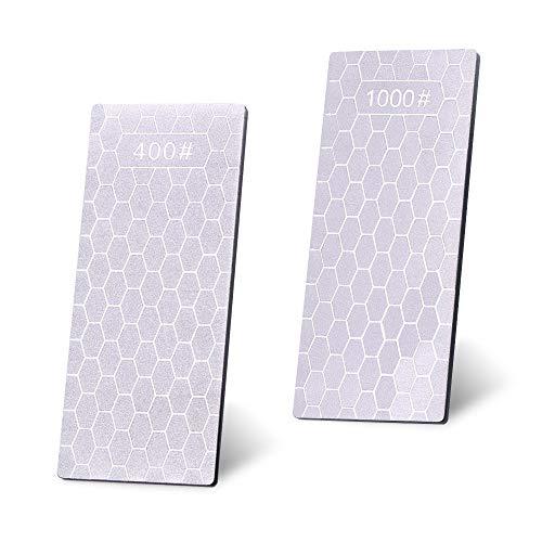 LELE LIFE 2 unidades de piedra de afilar de diamante de molienda rápida, grano 400 y grano 1000, afilador de piedra de afilar de diamante, piedra de afilar polaca