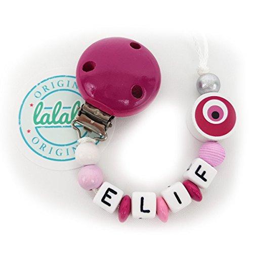 Baby Schnullerhalter Schnullerkette Nazar Auge in Rosa/Pink zur Geburt und Taufe, Individuelle Namenskette für Mädchen und Jungen