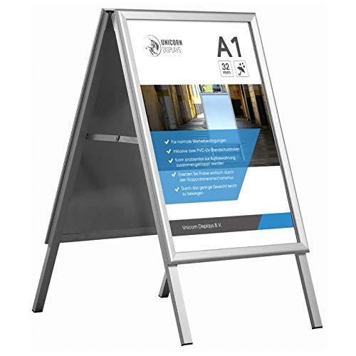A1 A-Board Kundenstopper mit Klapprahmen Silber - Für den Außenbereich und 100% wasserdicht Inklusive zwei Antireflex und UV-stabilisierte Schutzfolie - 32 mm Aluminiumprofil mit abgeschrägten Ecken