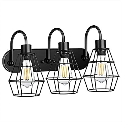 3-Light Industrial Bathroom Vanity Light,Vintage Metal Cage Wall Sconce,Rustic Farmhouse Wall Light Fixture,Porch Wall Lamps for Bedroom,Living Room,Mirror Cabinet,Kitchen(E26 Base, Bulb Not Included)