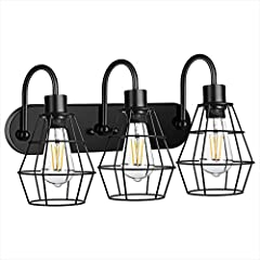 💖【Industrial Style & Metal Cage Design】: 3-Light Bathroom Metal Vanity Lighting Fixture with black vintage cage look, adding a rustic farmhouse element to your indoor living aesthetic. The cage design can protect the bulbs and maximize its lighting a...