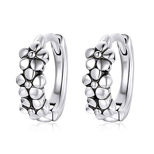 HMMJ Pendientes con bisagras Huggie de Aros pequeños con Forma de Flor Simple hipoalergénica de Plata esterlina S925 para Mujer SCE1154