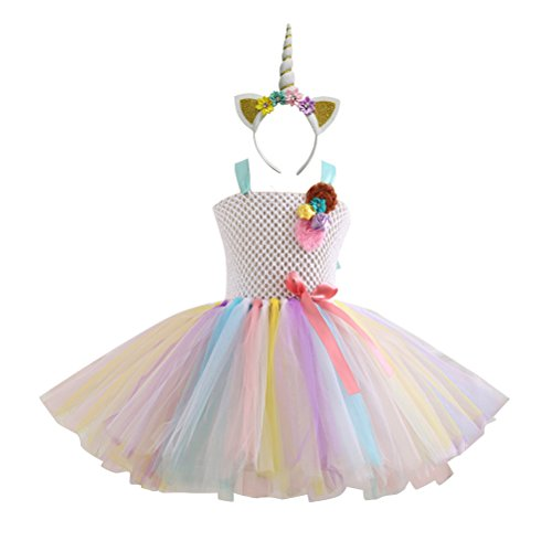 Fenical Einhorn Kostüme Kinder Einhorn Horn Strinband mit Ohren Blumen Regenbogen Kleid Mädchen Kinder Kostüm für Karneval Größe XS (Weiß)