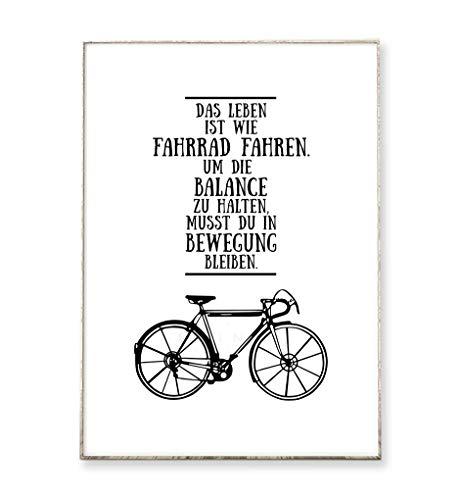 DIN A4 Kunstdruck Poster FAHRRAD FAHREN -ungerahmt- Typografie, Leben, Motivation, Spruch, Schrift, Sport