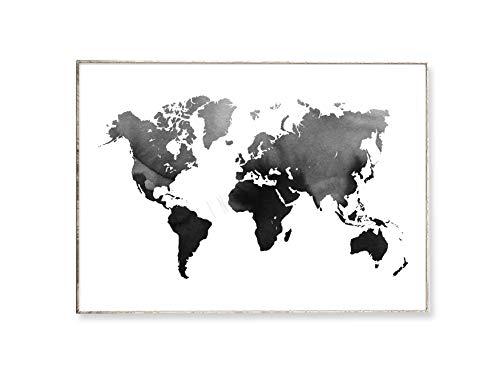 DIN A4 Kunstdruck Poster WORLD MAP 01 -ungerahmt- Weltkarte, Bild, Wasserfarbe, abstrakt