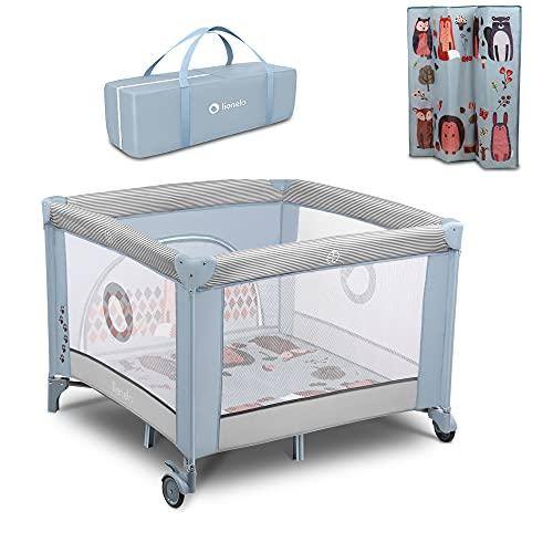 LIONELO Fie Parque para bebés De viaje Para niños de hasta 15 kg Perfecto en casa y de vacaciones Sistema de plegado seguro Bolsa incluida (Azul claro)