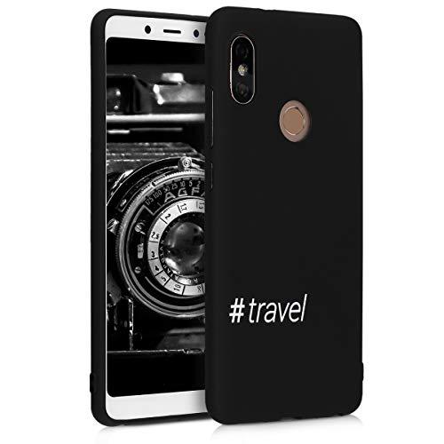 kwmobile Hülle kompatibel mit Xiaomi Redmi Note 5 (Global Version) / Note 5 Pro - Handyhülle - Handy Hülle Hashtag Travel Weiß Schwarz