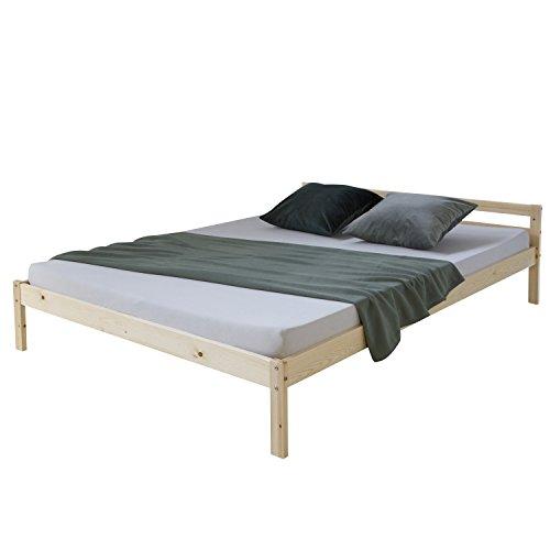 Homestyle4u 640, Holzbett 140x200, Doppelbett mit Lattenrost, Natur, Kiefer Massivholz