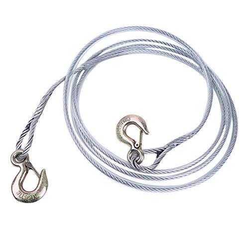 4M Stahl Abschleppseil Leine Notrettungs Anhänger Kabel mit Metallhaken allgemeinhin for Auto-LKW-Durable 108 (Color : Silver)