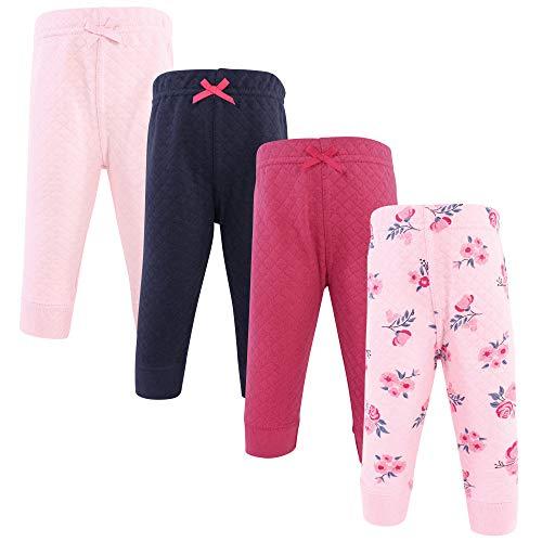 Hudson Baby Pantalones Deportivos Acolchados para bebé, 4 Unidades, Rosa Azul Marino Floral, 4 Años